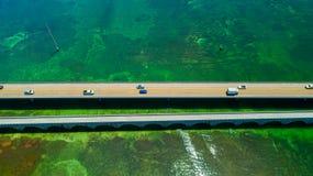 7 mil bro flyg- sikt Florida tangenter, maraton, USA Royaltyfri Foto