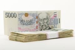 Mil checo de los billetes de banco 5 y 2 coronas Foto de archivo libre de regalías