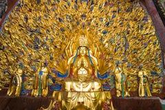Mil estatuas de Buda de las manos en Bao Ding en las tallas de la roca de Dazu imágenes de archivo libres de regalías