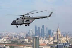 Mil Mi-8AMTSH helicopter of Russian Air Force during Victory Day parade flying over Moscow city. MOSCOW RUSSIA - MAY 9, 2015: Mil Mi-8AMTSH helicopter of Stock Image