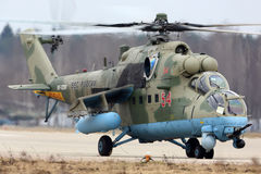 Mil Mi-35M RF-13384 attack helicopter of Russian air force during Victory Day parade rehearsal at Kubinka air force base. Royalty Free Stock Image