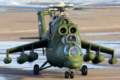 Mil Mi-35MS helicopter of Russian Air Force at Panki airfiled. LYUBERTSY, MOSCOW REGION, RUSSIA - MAY 25, 2015: Mil Mi-35MS helicopter of Russian Air Force at Stock Image