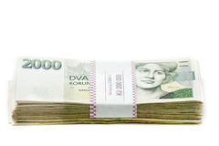 Mil nominal del valor uno y dos de los billetes de banco checos coronas Fotografía de archivo