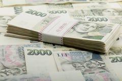 Mil nominal del valor uno y dos de los billetes de banco checos coronas Imagen de archivo libre de regalías