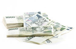 Mil nominal do valor um e dois das cédulas checas coroas Fotografia de Stock Royalty Free