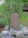 Mil stone in Skansen park (Sweden) Royalty Free Stock Photography