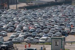 Milan: the car park of Malpensa airport. Mila: the crowded car park in the malpensa airport royalty free stock photos