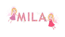 Mila female name with cute fairy Stock Photos