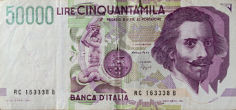 50 mila Lire Stockfotos