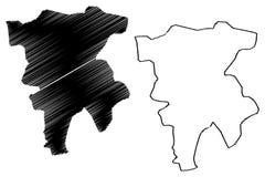 Mila Province Provinces de Argelia, rep?blica Democratic de la gente del ejemplo del vector del mapa de Argelia, mapa de Mila del