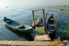 Mila 23, Rumunia, Czerwiec 2017: Mila 23 łodzi rybackich w Danube Del Obraz Stock