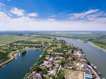 Mila 23 village Danube Delta Romania aerial view. In Dobrogea, Romania stock images
