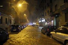 Milaan de fiumeseveso overstroming Stock Foto's
