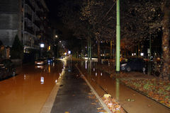 Milaan de fiumeseveso vloed Stock Foto
