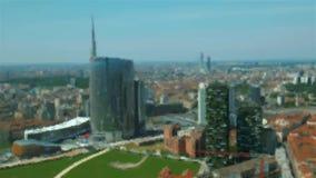 Milaan geanimeerd illustratiesatellietbeeld van Bedrijfsdistrict stock footage