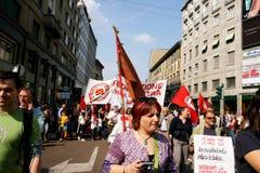 Milaan, het Italiaanse politieke protest van de Dag van de Bevrijding Royalty-vrije Stock Foto's