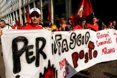 Milaan, het Italiaanse politieke protest van de Dag van de Bevrijding Stock Foto