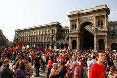 Milaan, het Italiaanse politieke protest van de Dag van de Bevrijding Royalty-vrije Stock Foto