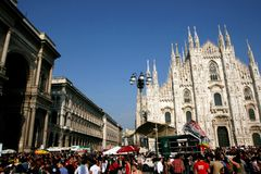 Milaan, het Italiaanse politieke protest van de Dag van de Bevrijding Royalty-vrije Stock Fotografie