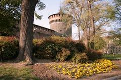 Milaan. Het kasteel van Sforzesco Royalty-vrije Stock Foto