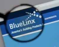 Milaan, Italië - Augustus 10, 2017: Blauw Linx-Holdingsembleem op w Stock Afbeelding
