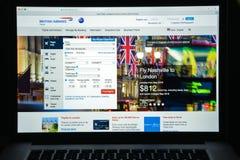 Milaan, Italië - Augustus 10, 2017: De Britse homepage van de luchtrouteswebsite Royalty-vrije Stock Fotografie