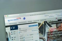 Milaan, Italië - Augustus 10, 2017: De Britse homepage van de luchtrouteswebsite Royalty-vrije Stock Foto's