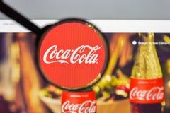 Milaan, Italië - Augustus 10, 2017: De homepage van de coca-colawebsite Het I Royalty-vrije Stock Afbeeldingen