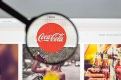 Milaan, Italië - Augustus 10, 2017: De homepage van de coca-colawebsite Het I Royalty-vrije Stock Afbeelding