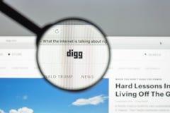 Milaan, Italië - Augustus 10, 2017: De homepage van de Diggwebsite Het is n Royalty-vrije Stock Foto's