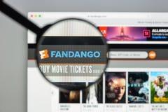 Milaan, Italië - Augustus 10, 2017: De homepage van de Fandangowebsite Het is Royalty-vrije Stock Fotografie