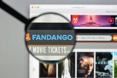 Milaan, Italië - Augustus 10, 2017: De homepage van de Fandangowebsite Het is Stock Afbeelding