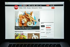Milaan, Italië - Augustus 10, 2017: De homepage van de Foodnetworkwebsite Het Royalty-vrije Stock Foto's