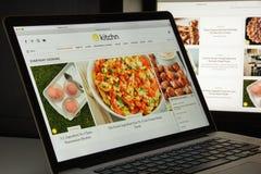 Milaan, Italië - Augustus 10, 2017: de homepage van de keukenwebsite Th Royalty-vrije Stock Afbeelding