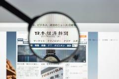 Milaan, Italië - Augustus 10, 2017: De homepage van de Nikkeiwebsite Het is N Royalty-vrije Stock Foto