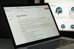 Milaan, Italië - Augustus 10, 2017: De homepage van de Wikileakswebsite Het I Royalty-vrije Stock Foto