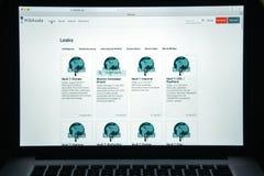 Milaan, Italië - Augustus 10, 2017: De homepage van de Wikileakswebsite Het I Royalty-vrije Stock Fotografie