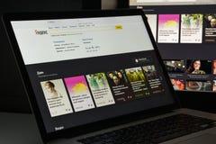 Milaan, Italië - Augustus 10, 2017: De homepage van de Yandexwebsite Het is a Royalty-vrije Stock Afbeelding