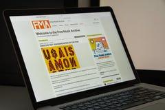 Milaan, Italië - Augustus 10, 2017: De vrije website van het muziekarchief homep Royalty-vrije Stock Foto's