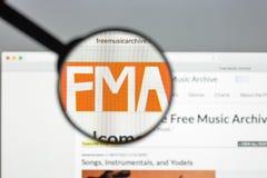 Milaan, Italië - Augustus 10, 2017: De vrije website van het muziekarchief homep Royalty-vrije Stock Afbeelding