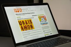 Milaan, Italië - Augustus 10, 2017: De vrije website van het muziekarchief homep Royalty-vrije Stock Fotografie