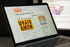 Milaan, Italië - Augustus 10, 2017: De vrije website van het muziekarchief homep Royalty-vrije Stock Afbeeldingen