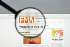 Milaan, Italië - Augustus 10, 2017: De vrije website van het muziekarchief homep Royalty-vrije Stock Foto