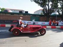 Milaan, Italië - Augustus 29, 2018: Marcus Ericsson bij Formule 1 dag in de stadscentrum van Milaan stock foto