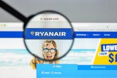 Milaan, Italië - Augustus 10, 2017: Ryanair-websitehomepage Het is Royalty-vrije Stock Afbeelding