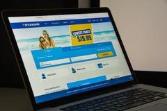 Milaan, Italië - Augustus 10, 2017: Ryanair-websitehomepage Het is Stock Fotografie