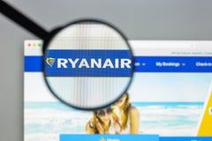 Milaan, Italië - Augustus 10, 2017: Ryanair-websitehomepage Het is Royalty-vrije Stock Foto