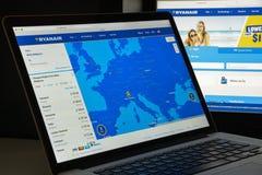 Milaan, Italië - Augustus 10, 2017: Ryanair-websitehomepage Het is Royalty-vrije Stock Fotografie