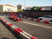 Milaan, Italië - Augustus 29, 2018: Sebastian Vettel die Ferrari drijven royalty-vrije stock fotografie