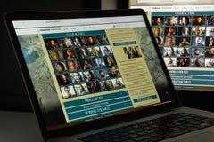 Milaan, Italië - Augustus 10, 2017: Spel van de website van tronenwikia ho Royalty-vrije Stock Afbeeldingen